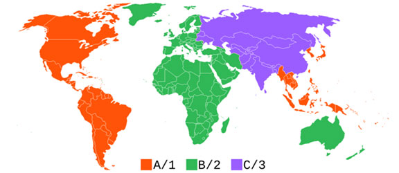 Map of Blu-ray Region Codes